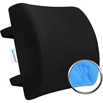 Wishcush Lumbar Support Pillow for Chair, Memory Foam Back Cushion for Car with Breathable 3D Mesh Cover and Ergonomic Shape Specially Designed for Lower Back Pain and Pressure Relief
