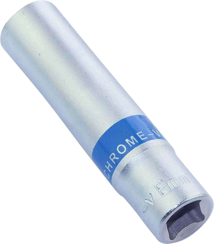 Corpo cilindrico Esagonale//Utensile manuale Argento Acciaio CR-V per chiave//cricchetto manuale//pneumatico AERZETIX C46035 Bussola 1//4x8mm Lunga//Allungata 6 lati Allen