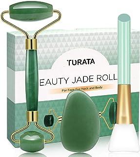 Rodillo de Jade, TURATA Facial Masaje Piedra Gua Sha Jade, Antienvejecedor Belleza Natural Dispositivo Herramienta, Rejuve...