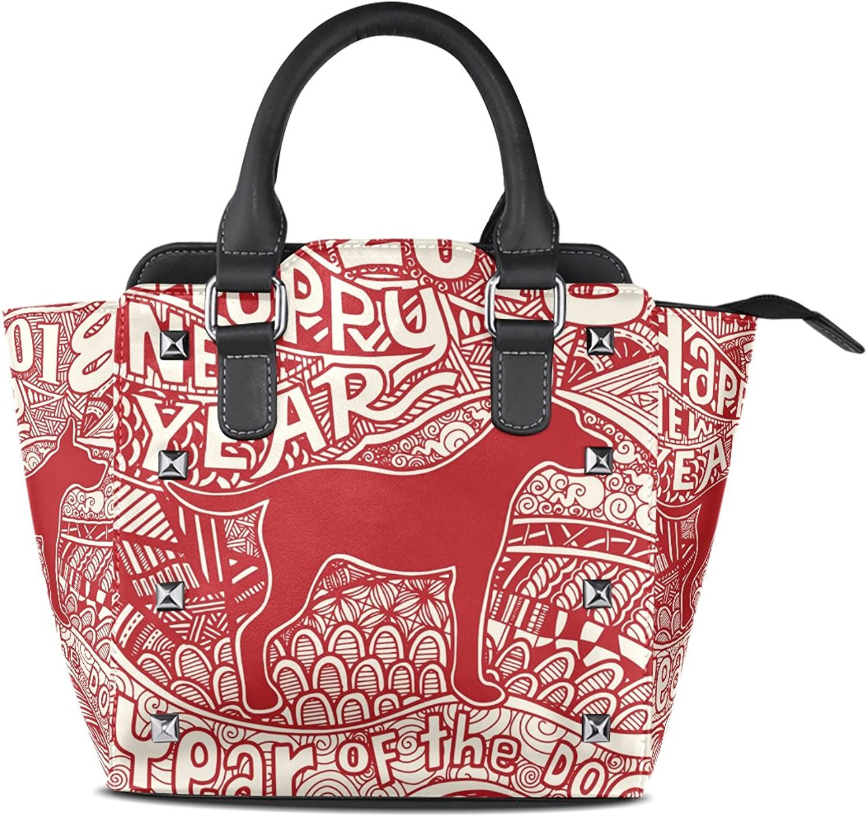 My Little Nest Women's Top Handle Satchel Handbag 2018 Happy New Year Dog Ladies PU Leather Shoulder Bag Crossbody Bag