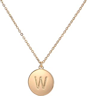 Youthway Copper Initial Necklace for Women 26 Letters Disc Monogram Chain Gold-Tone Alphabet Necklace Jewelry Gift for Her
