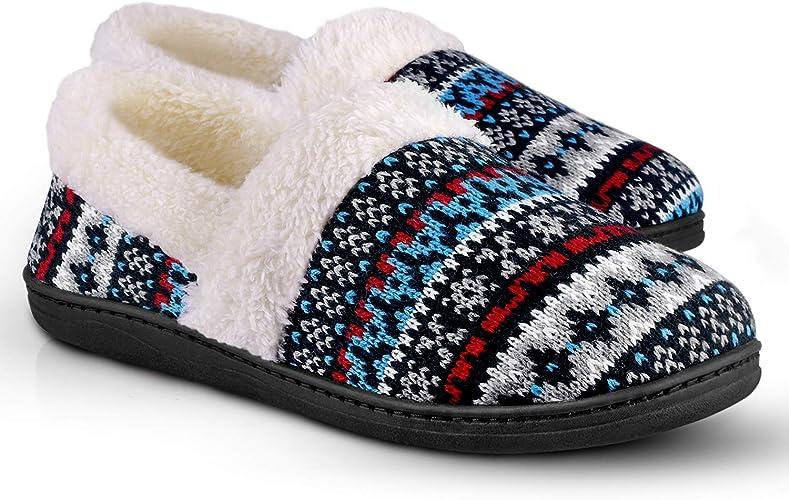 Homitem Women's Slip-On Knit Slippers Memory Foam Slippers Fuzzy Wool-Like Plush Fleece Lined House Shoes Indoor/Outdoor Anti-Skid Rubber Sole (Size 7-8,Dark Blue