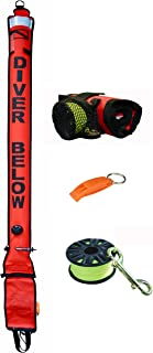 DiveSmart 6ft Scuba Diving Open Bottom Surface Marker Buoy (SMB) with High Visibility Reflective Band, Strobe Light or Flashlight Holder Includes 100ft Finger Spool ABS Dive Reel and Attached Whistle