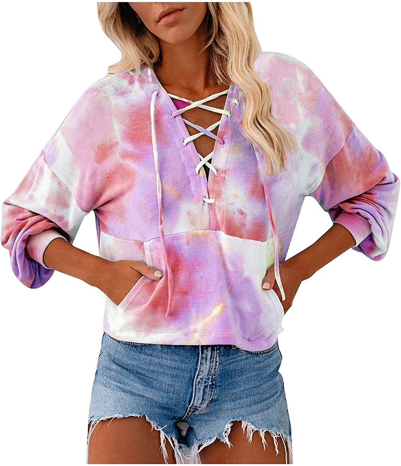 Women Casual Tie-Dye Online limited product Printed V-Neck L Pullover Drawstring Fresno Mall Cutout