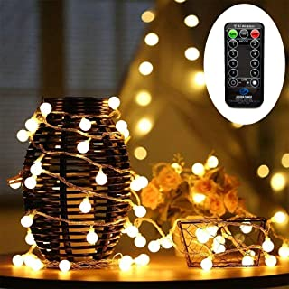 HConce Led String Lights Plug in Globe String Lights with FR Remote Control 100 Led Warm White Globe Lights Waterproof Decorative Lights for Indoor and Outdoor use with 29V Low Voltage Transformer