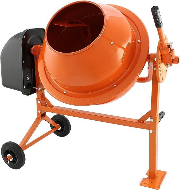 Betoniera elettrica 70 litri 30 giri/minuto per miscelare calcestruzzo, malta e cemento t-mech 10486
