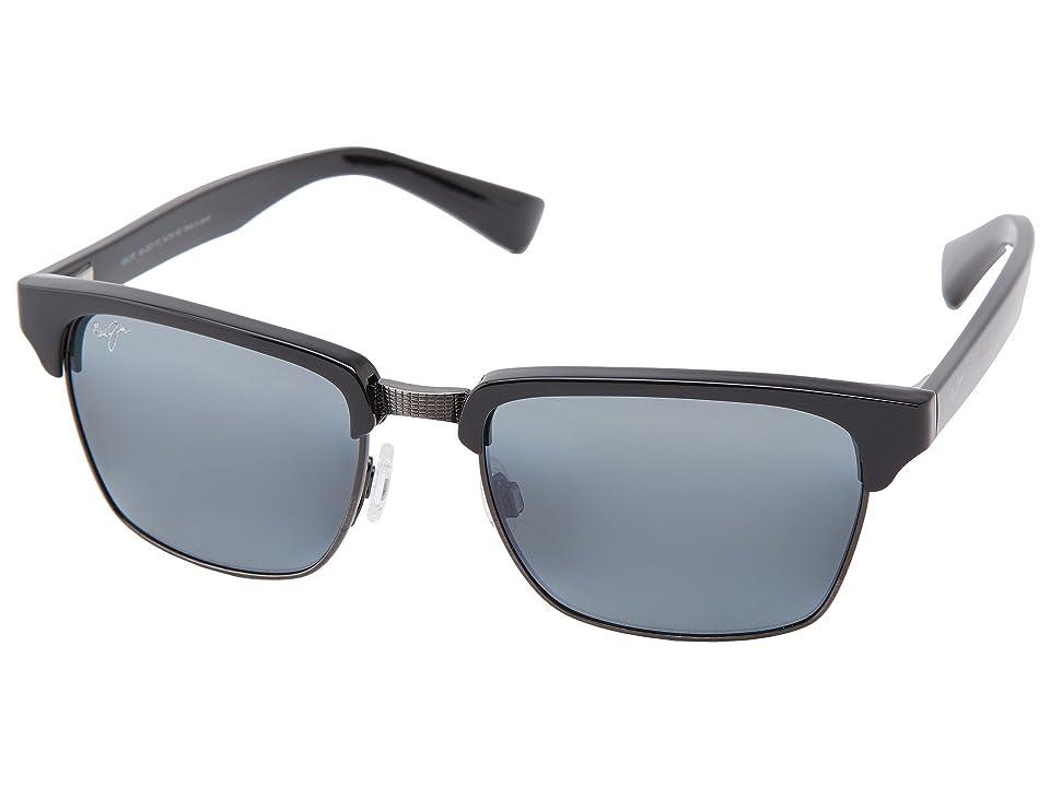 Maui Jim Kawika (Black Gloss w/ Antique Pewter/Neutral Grey) Sport Sunglasses