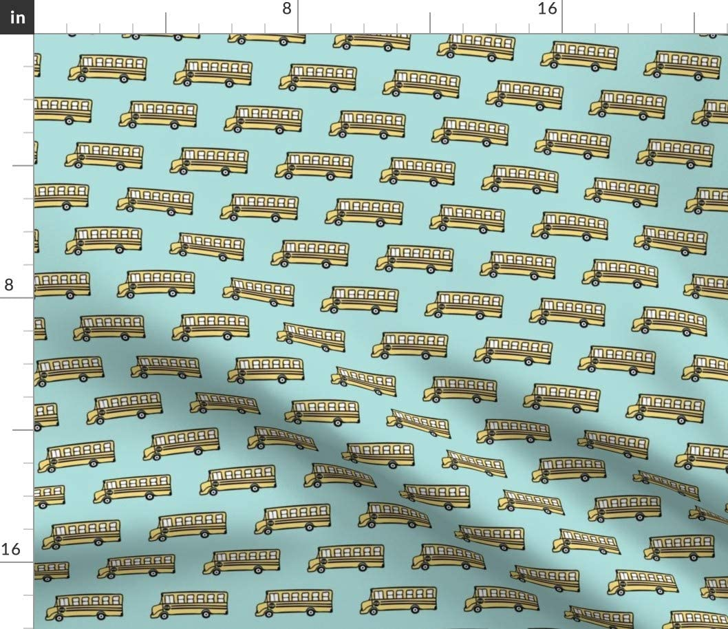 Genuine Spoonflower Fabric - sold out School Bus Printed on Yellow Upholster Blue