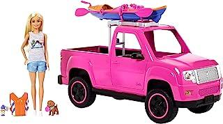 Barbie Camping Fun, Coche de Barbie con Muñeca y Accesorios de Acampada (Mattel FNY40) , color/modelo surtido