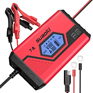 SUAOKI Smart Battery Charger/Portable Battery Maintainer Waterproof 12V 7A/3.5A Fully Automatic Trickle Charger for Car Truck Motorcycle Boat RV Lawn Mower SLA Wet MF GEL AGM 12V LiON Battery(ICS7+)