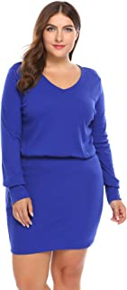 IN'VOLAND Plus Size V-Neck Long-Sleeve Slim Fit Knit Sweater Dresses Women