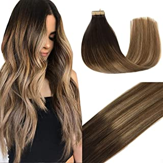 GOO GOO Tape in Hair Extensions Ombre Dark Brown to Light Brown and Ash Blonde Remy Human Hair Extensions Tape in Natural Hair Straight 50g 20pcs 16inch