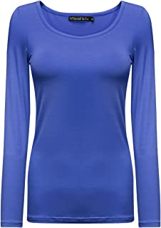 OThread & Co. Women's Long Sleeve T-Shirt Scoop Neck Basic Layer Spandex Shirts