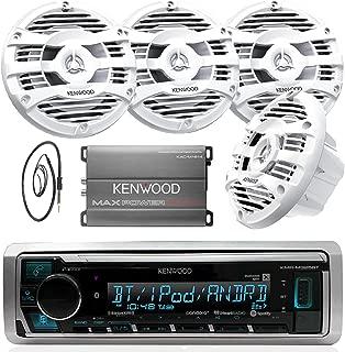 New Kenwood Marine Boat Yacht Bluetooth Digital USB AUX iPod iPhone AM/FM Radio Stereo Player With 4 X 6.5