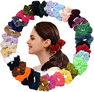 40Pcs Colorful Velvet Hair Scrunchies, Scrunchy Bobble Soft Hair Bands, Solid Color Hair Ties Ropes Scrunchie,Accessory Rope for Women or Girls,Assorted Colors Scrunchies