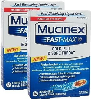 Mucinex Fast-Max Max Strength, Cold, Flu, & Sore Throat Liquid Gels 16 ea ( Pack of 2)