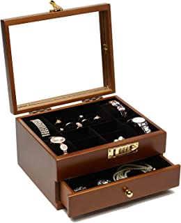 Changsuo Jewlery Box for Watches with Lock, Wooden Box with Combo Lock, Lockable Organizer Box Wooden Jewelry Storage Cont...