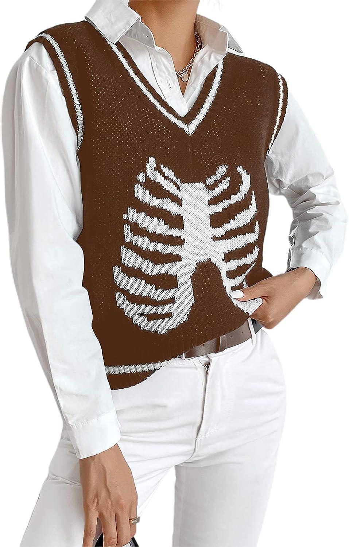 Women Sweater Vest Skull Print Knitted Sleeveless Y2K Sweater Plaid Print Knit Tank Top