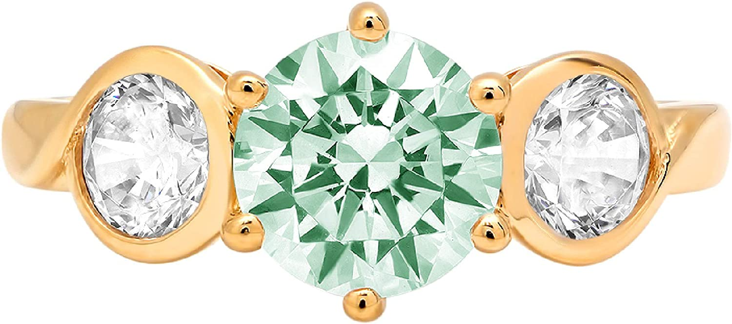 1.82ct Brilliant Round Cut 3 stone Solitaire Light Sea Green Simulated Diamond CZ VVS1 Designer Modern Statement with accent Ring Solid 14k Yellow Gold Clara Pucci