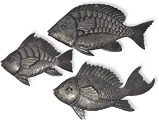 it's cactus - metal art haiti Nautical Fish, Set of 3, Wall Hanging, Haitian Beach Themed Home Decor, Whimsical, Catch of The Day (Decorative Fish)