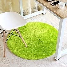 Living Room Bedroom Round mats Non Slip Waterproof Round Rug Ottomans Computer Chair pad Basket mat Swivel Floor mats (Col...
