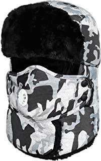 Trooper Trapper Hat Winter Windproof Ski Hat with Ear Flaps and Mask Warm Hunting Hats for Men Women