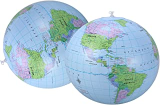 2PC PVC Water Ball Globe Map Pattern Inflatable Elastic Beach Ball 16 Inch for Swimming Pool Sea Beach