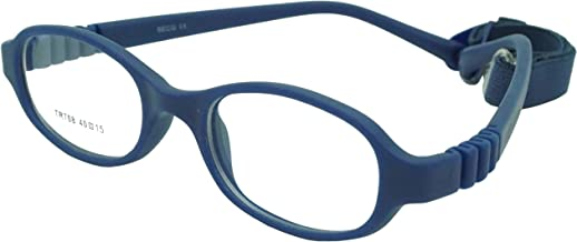 Kids Optical Eye Glass Frame with Strap for Girls Boys Sport Corrective Non Prescription Flexible Size 40 Navy