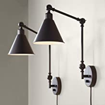 Wray Modern Industrial Up Down Swing Arm Wall Lights Set of 2 Lamps Dark Brown Sconce for Bedroom Reading - 360 Lighting