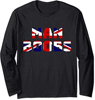 Moobs, Union Jack Flag, Man Boobs Dad Shirt, British Flag Long Sleeve T-Shirt