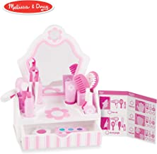 Melissa & Doug Wooden Beauty Salon Play Set (Role Play, Vanity & Accessories, 18 Pieces, 15.5