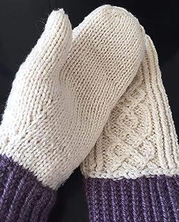 Manoplas blancas tejidas a mano, talla M, para mujer