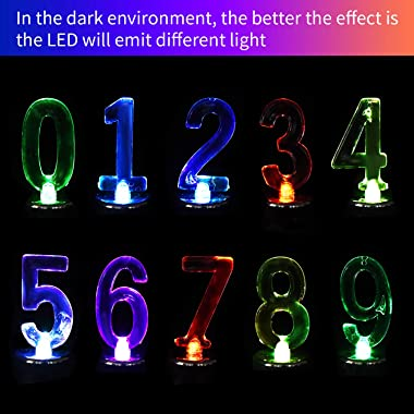 10 Pieces LED Number Lights Light Up Numbers Night Light Lights Sign Number 0-9 Battery Operated Flashing LED Lights for Birt