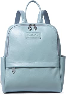 BOSTANTEN Women Leather Backpack Purse Satchel Shoulder School Bags for College Blue-gray Medium