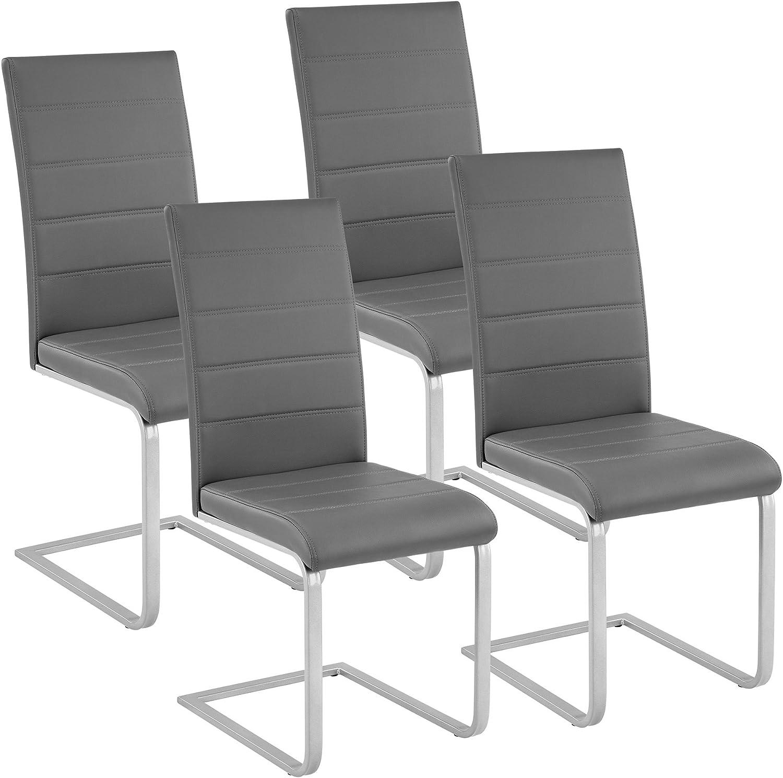 TecTake Esszimmerstühle Schwingstuhl Set  Kunstleder - Diverse Farben - (4er Set grau  Nr. 402555)