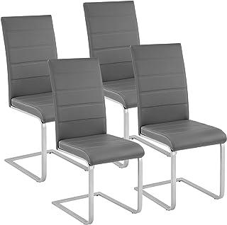 TecTake Lot de 4 Chaise de Salle à Manger Chaise Cantilever | diverses Couleurs et modèles au Choix - (4X Gris | No. 402555)