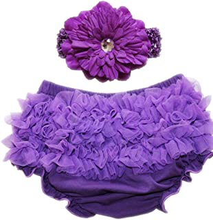 October Elf Toddler Diaper Covers Baby Girl's Cotton Short Panties Chiffon Ruffle Baby Bloomers and Headband Set