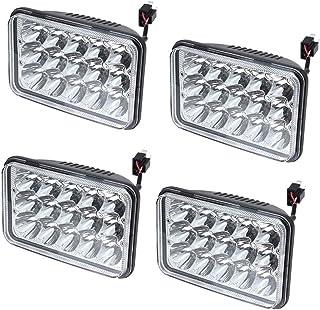 4x V-Spec 4x6 Premium LED Headlight Conversions - Clear Diamond 4x6 LED Headlight Sealed Beam Replacement HID Xenon H4651 H4652 H4656 H4666 H6545