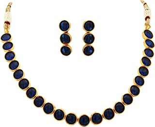 Aradhya Big Girls Austria Cz Solitaire Fashion Jewellery Necklace Set With Earrings