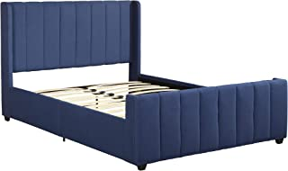 Christopher Knight Home 306985 Riley Fully-Upholstered Bed Frame-Queen-Size-Traditiona, Navy Blue Black