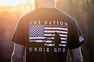 Pure Whitetail One Nation American Flag Deer Bowhunter Shirt - Super Soft Wicking Cooling Dri Fit Exercise and Casual Shirt
