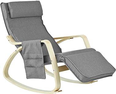 SoBuy® FST18-DG éponge plus épais, Rocking Chair Fauteuil à bascule berçante avec repose-pieds réglable Bouleau + 1 pochette