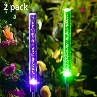 Polami Garden Solar Lights Outdoor Decorative Stakes LED Color Changing for Lawn Yard Patio Pathway