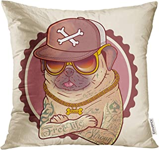 UPOOS Throw Pillow Cover Pug in Tattoos Prints on Sweatshirts Cases for Mobile Phones Souvenirs Images Brutal Gangster with Gold Chain Decorative Pillow Case Home Decor Square 16x16 Inches Pillowcase