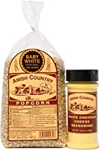 product image for Amish Country Popcorn | 2 Lb Baby White Kernals & White Cheddar Cheese Seasoning Gift Set | Old Fashioned with Recipe Guide