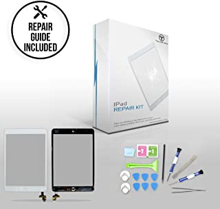 """TechOrbits IPAD Mini Touch Screen Replacement Glass Digitizer 7.9"""" Mini & Mini 2 Retina Display with IC Chip & Home Button A1432 A1454 A1455 A1489 A1490 A1491 Repair Guide & Tool kit (White)"""