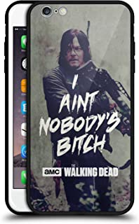 Official AMC The Walking Dead Daryl Typography Black Hybrid Glass Back Case Compatible for iPhone 6 Plus/iPhone 6s Plus