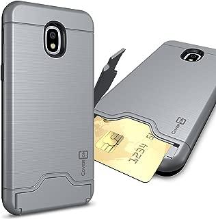 CoverON Credit Card Holder Protective SecureCard Series for Samsung Galaxy J3 2018 / Express Prime 3 / J3 Star / J3 Prime 2 / Amp Prime 3 / Eclipse 2 / J3 Aura/Achieve Case, Gunmetal Gray
