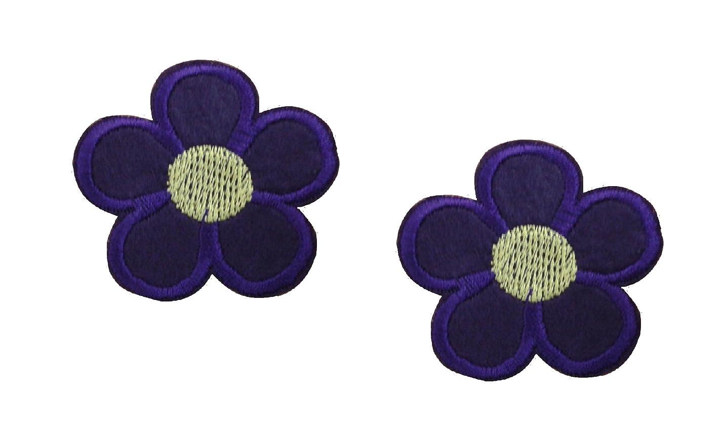 2 pieces Purple FLOWER Iron On Patch Fabric Applique Motif Children Scrapbooking Decal 1.9 x 1.9 inches (4.8 x 4.8 cm)