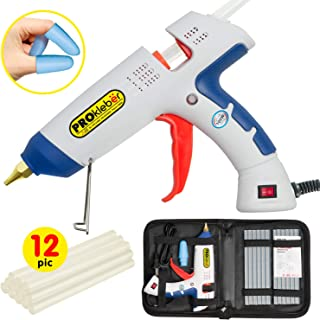 Hot Melt Glue Gun Kit Full Size 100 Watt with Carry Bag and 12 pcs Glue Sticks, for DIY, Arts & Crafts Projects, Sealing, Quick Repairs, Light and Heavy Duty, Home, Office (White/Blue) by PROkleber